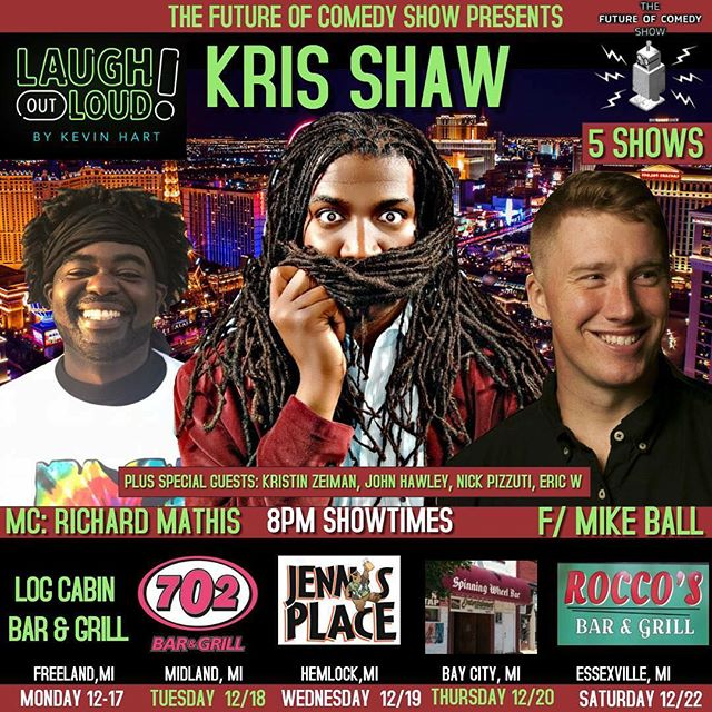 It's going down all week! With my dudes @therealkrisshaw and @richardmathis952 !! #standupcomedy #puremichigan #midland #hemlock #baycity #essexville