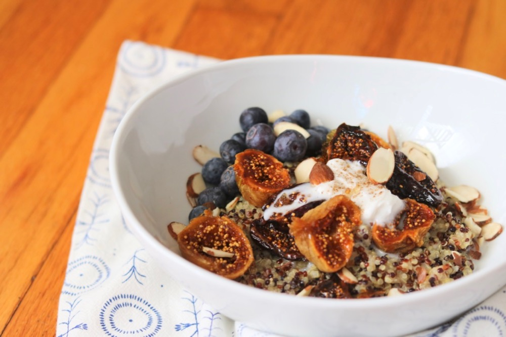 quinoa breakfast porridge with roasted figs