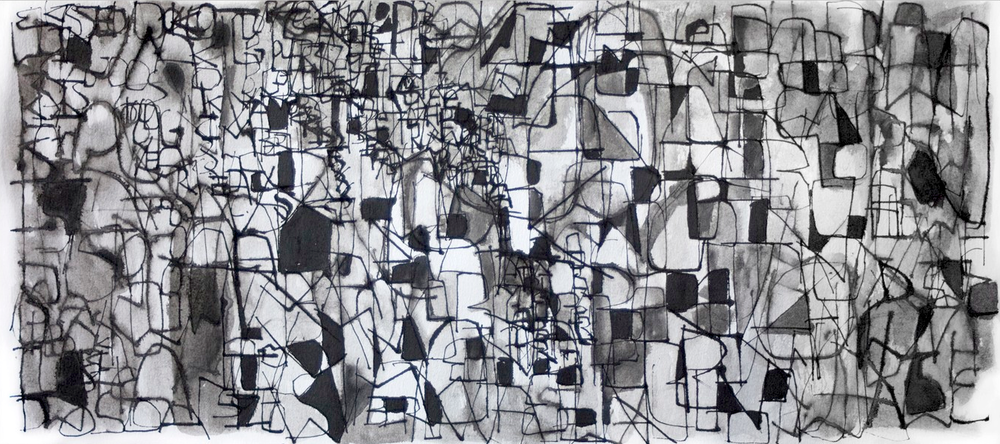 "10.9.2011   Ink on Paper   20"" x 9"""
