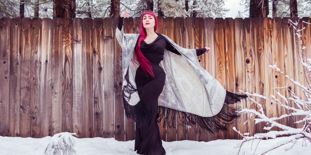 Corset Gown:  Dollymop for Dark Garden  | Robe:  Norwegian Wood  | Model: Victoria Dagger | Photo © Alyxander Ryan