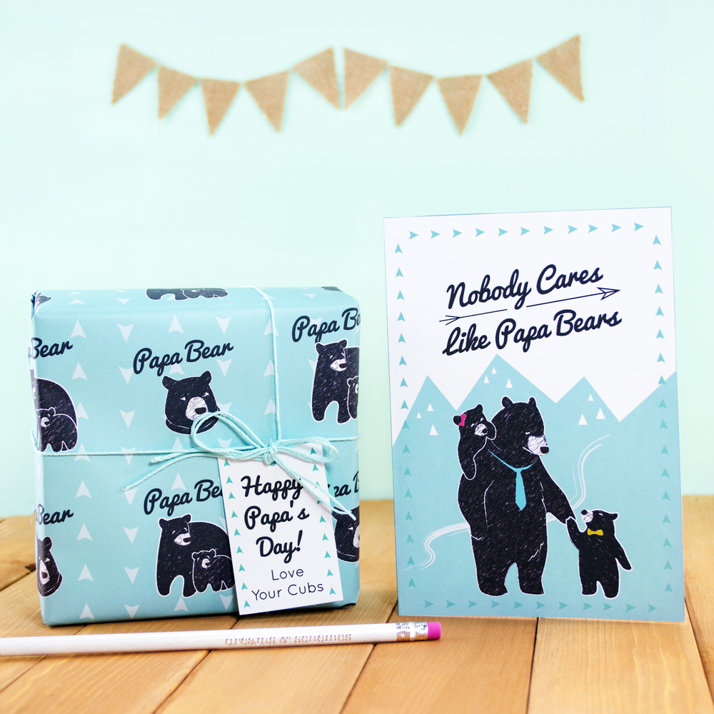 Father's Day Papa Bear Printable Gift Wrap