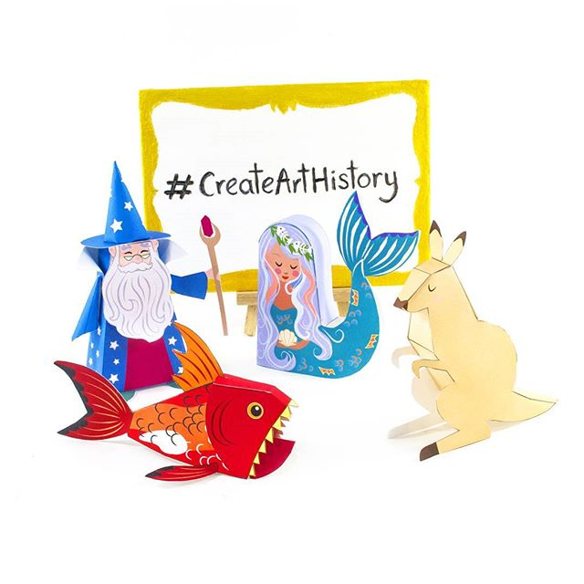 Excited to be taking part in #createarthistory with @redbubble & @library_vic ! The live event will be in Melbourne tomorrow on Dec 1st at the State Library Victoria 11am-3pm, sadly I can't be there but these little paper guys will be going in my stead! There be paper crafts & live painting demos, etc! Check  #createarthistory for amazing work from artists from around the globe! Also follow along with Redbubble artists in residence @j.p.ormiston & @importautumn for epic paintings and other awesomeness! 😄 …........................…... #artistsoninstagram  #artanddesign #littleluxuriesloft #makersgonnamake #arthistory #papercrafts #papertoys #makers #graphicdesign #artistlife #arthistory #melbourneevents