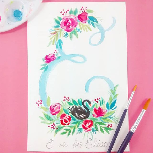 A little illustration for my littlest niece 🌸 Happy Birthday Elise! ..2 yr olds can appreciate art right? 😂 #illustration #watercolor #monogram #flowerpainting #watercolorflowers #watercolorsketch #artanddesign #picoftheday #handlettering #swan #makersgonnamake #onmydesk #sketchbook