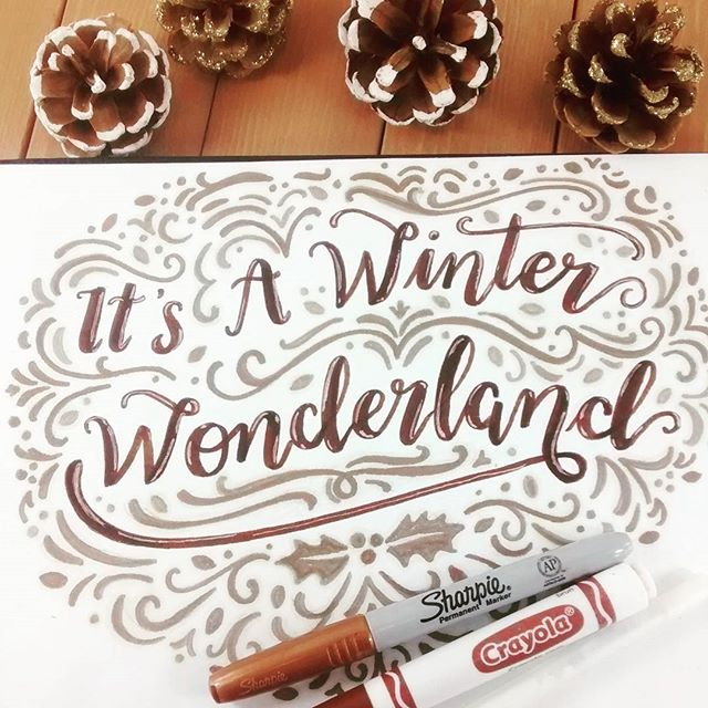 I'm doodle happy today apparently. Ever just start something and get carried away?😂 ....................................................... #handlettering #brushlettering #illustration #onmydesk #winterwonderland #artanddesign #sketchbook #crayolacalligraphy #sharpieart #makersgonnamake #creativetime #doodle #littleluxuriesloft #lettering #winter #picoftheday