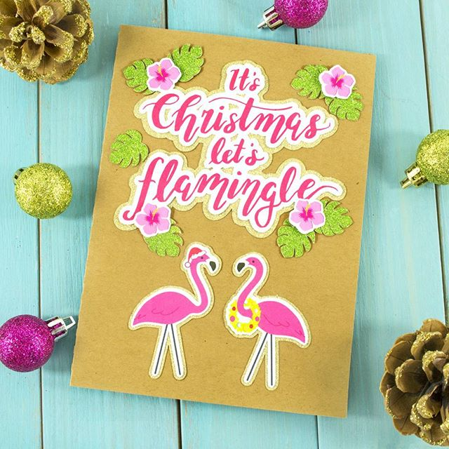 'Tis the season to flamingle 😉 Happy Monday guys! ....................................................... #littleluxuriesloft #silhouetteamerica #silhouettecameo #cardmaking #card #papercraft #flamingos #letsflamingle #pink💕 #tropicalchristmas #makermonday #artanddesign #picoftheday #creativetime #svgcuts #christmascards