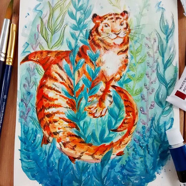 Look out 🐅 shark! Taking part in the creature challenge from the #ashowaboutart on YouTube hosted by @importautumn. This week featured the amazing artist @nykiway  YouTube search a show about art for some arty inspiration!  Ok so....on a side note, this is my second attempt to paint this. My first one was so bad it made me question my existence 😂. I've noticed I have a tendency to over work watercolors and I'm making it my 2018 goal to loosen up!! #watercolorpainting #tigershark #illustration #artanddesign #onmydesk #makersgonnamake #watercolorsketch #tiger #fantasycreatures #sealife #purrmaid #shark #sketchbook #picoftheday #underthesea #littleluxuriesloft #artchallenge #painting #paintingpractice
