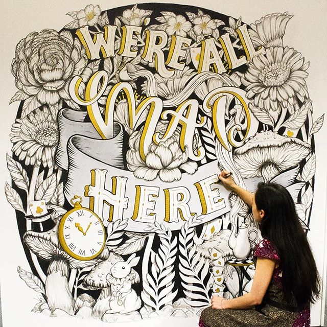 Finished my first ever mural at Redbubble HQ! Been in Melbourne for almost 2 months now for the Redbubble Artist Residency and having an incredible time! Feel very lucky to be here 💞. The nature, the people, the food and the coffee has been soo amazing and lovely! 😍 also big thankyou to my fam and friends back home who supported and encouraged me to take the leap!! More art to come and maybe a little roo or two! 😉 #redbubblecreate #redbubble #mural #aliceandwonderland #wereallmadhere #lettering #handlettering #typography #TYxCA #typeyeah #artistlife #painting #artanddesign #wallmurals #melb #flowerpainting #artistinresidence #melbourneartist