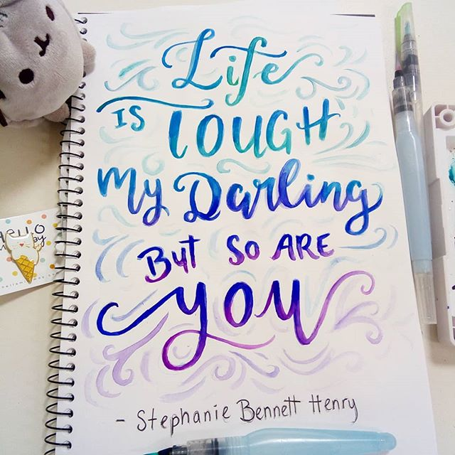 A bit of lettering before surgery tomorrow. Thinking of all the lovely supportive ppl in my life 💞❤ Thank-you! #lettering #quotes #watercolor #onmydesk #sketchbook #watercolorlettering #handlettering #artistlife #inspirationalquotes #artanddesign #moderncalligraphy #littleluxuriesloft #painting #redbubblecreate