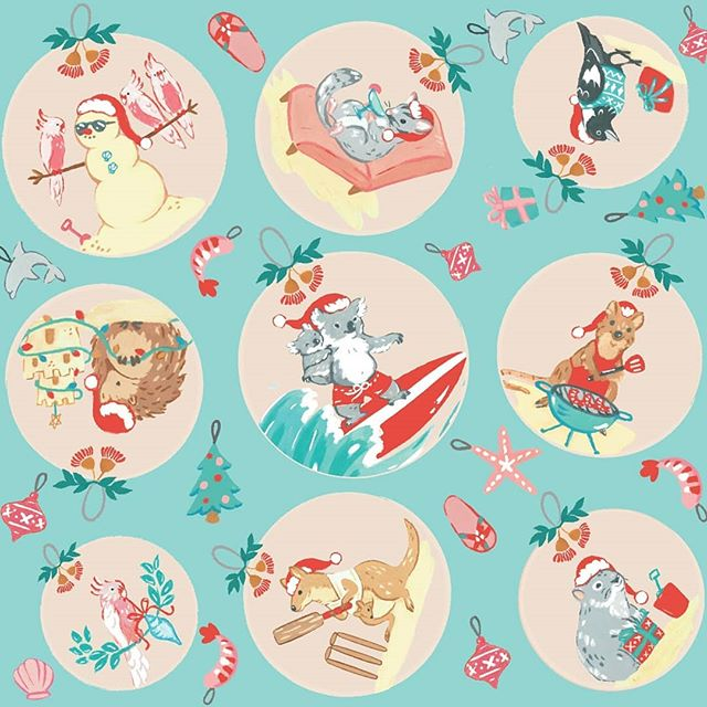 My completed submission for the @spoonflower Christmas around the world challenge🐨🎄. Thank you for all the kind comments and votes 😊. Link in profile to see all the lovely designs entered! ........................................................... #aussiexmas #patterndesign #spoonflowerchallenge #fabricdesign #illustrationnow #illustration #artanddesign #surfacedesign #koala #graphicdesign #australiananimals #quokka #beachchristmas #surfingkoala #kangaroo #wambat #christmasdownunder