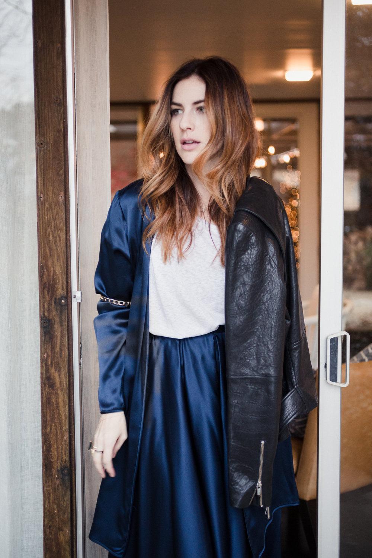 Eldridge Edit Fashion Blogger Anna E Cottrell Navy Silk Skirt Veda Leather Black Jacket Vince Boot MGB Photo 4.jpg