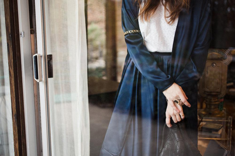 Eldridge Edit Fashion Blogger Anna E Cottrell Navy Silk Skirt Veda Leather Black Jacket Vince Boot MGB Photo 3.jpg