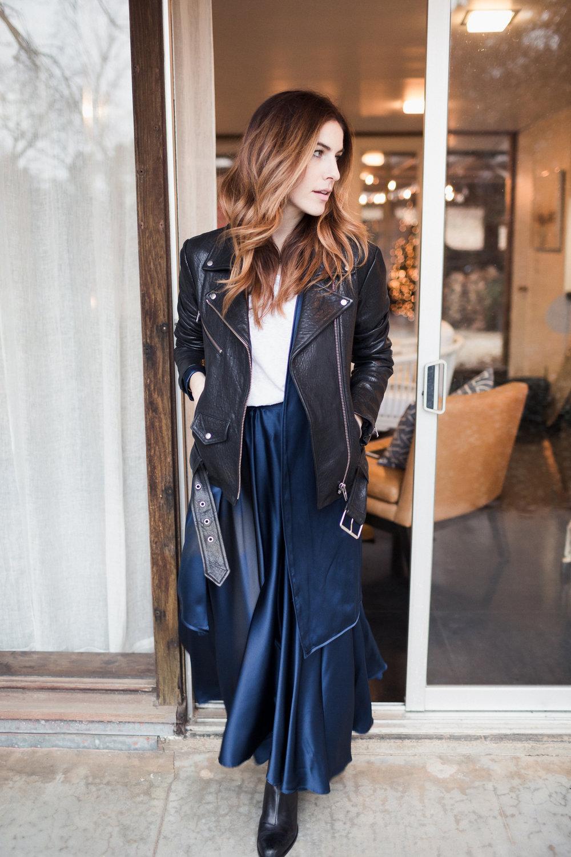 Eldridge Edit Fashion Blogger Anna E Cottrell Navy Silk Skirt Veda Leather Black Jacket Vince Boot MGB Photo 6.jpg