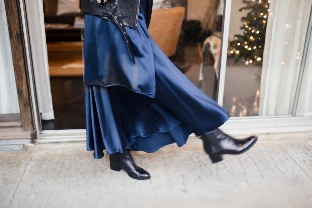 Eldridge Edit Fashion Blogger Anna E Cottrell Navy Silk Skirt Veda Leather Black Jacket Vince Boot MGB Photo 7.jpg