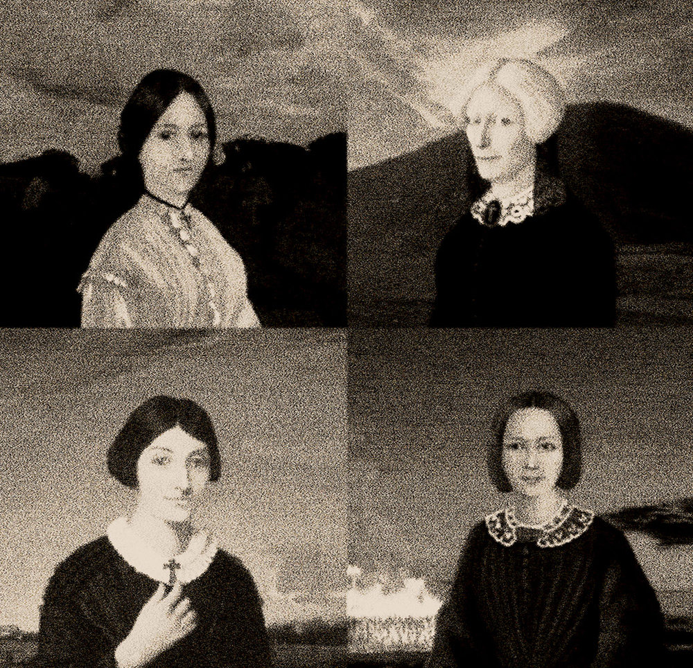 Coming into view, sketches of - clockwise from left Sr Jane Gorry, Catherine McAuley,  Florence O'Reilly and Mother Vincent (Ellen) Whitty