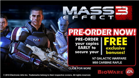 Mass Effect 3 pre order deals