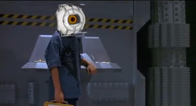 mario with a portal gun