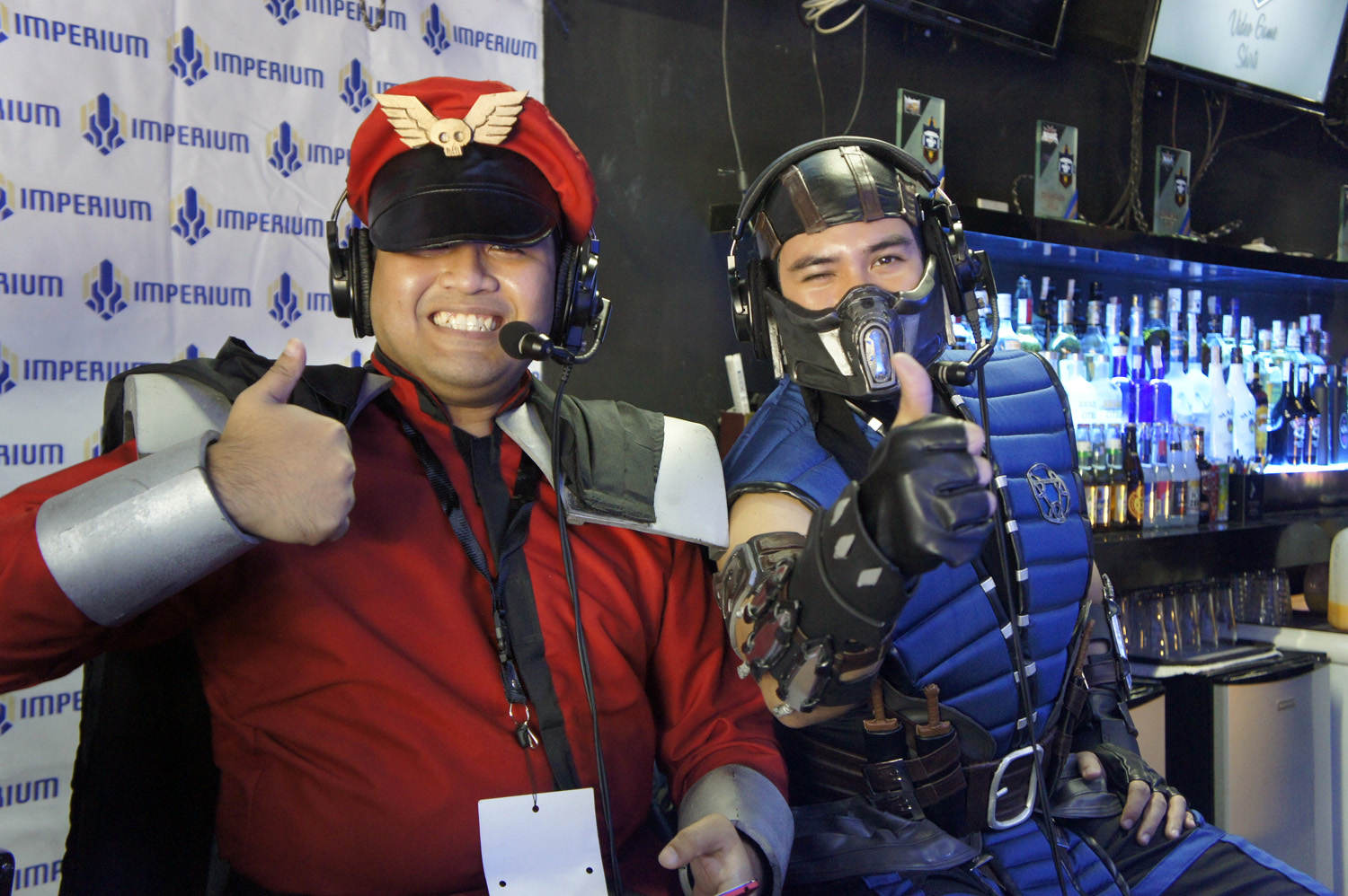 M. Bison and Sub-Zero taking their time from world domination plans to commentate some matches