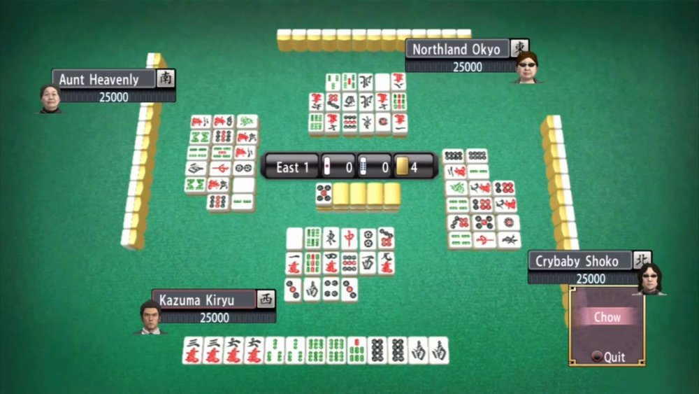 Japanese style Mah-jong can be enjoyed in numerous Mahjong parlors in Yakuza games