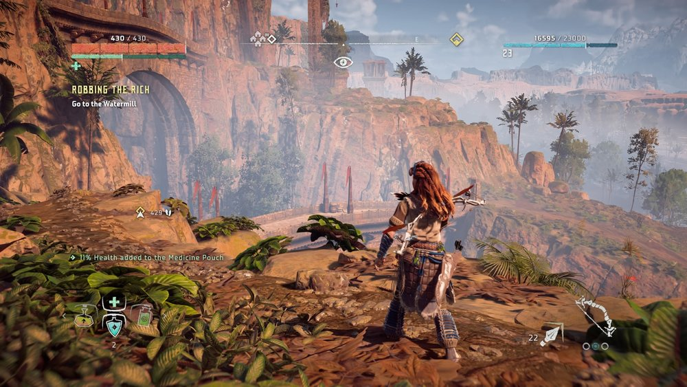 The scale of Horizon Zero Dawn is big. Yet, despite the ability to have mounts, it wasn't tiring to explore the world on foot.