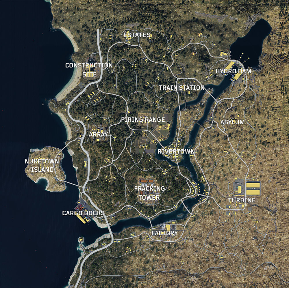 Official map of Call of Duty: Black Ops 4's Blackout