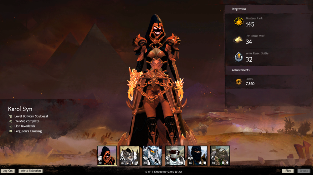 All six slots used during my six years with Guild Wars 2.