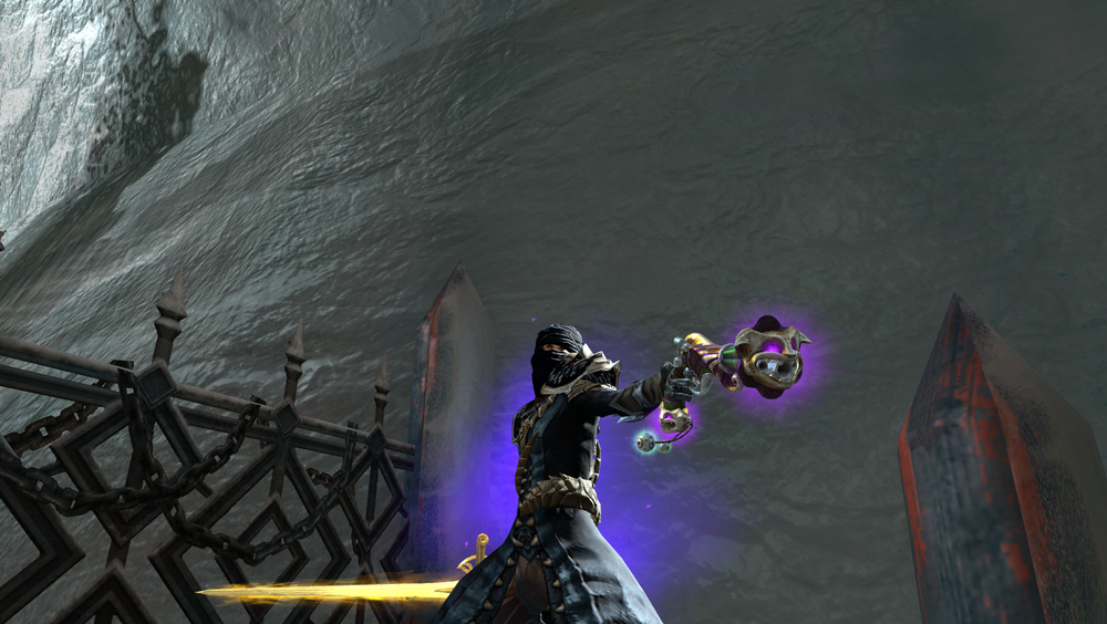 Guild Wars 2's legendary pistol the Quip, which shoots confetti. This is my first legendary, and I don't know why I did it.