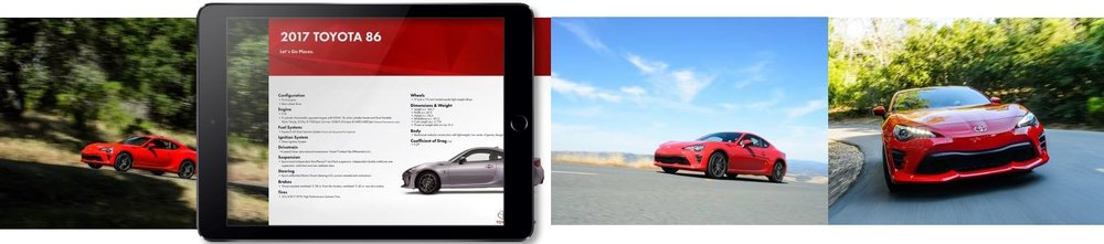 Event guests could swipe through photos and info about the 2018 toyota 86 on an ipad pro, replacing the traditional wheel stand info display.
