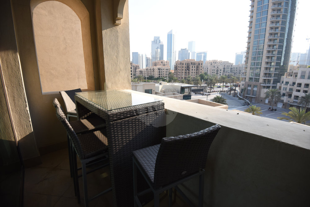 The balcony offers stunning views of Burj Plaza and overlooks Burj Park