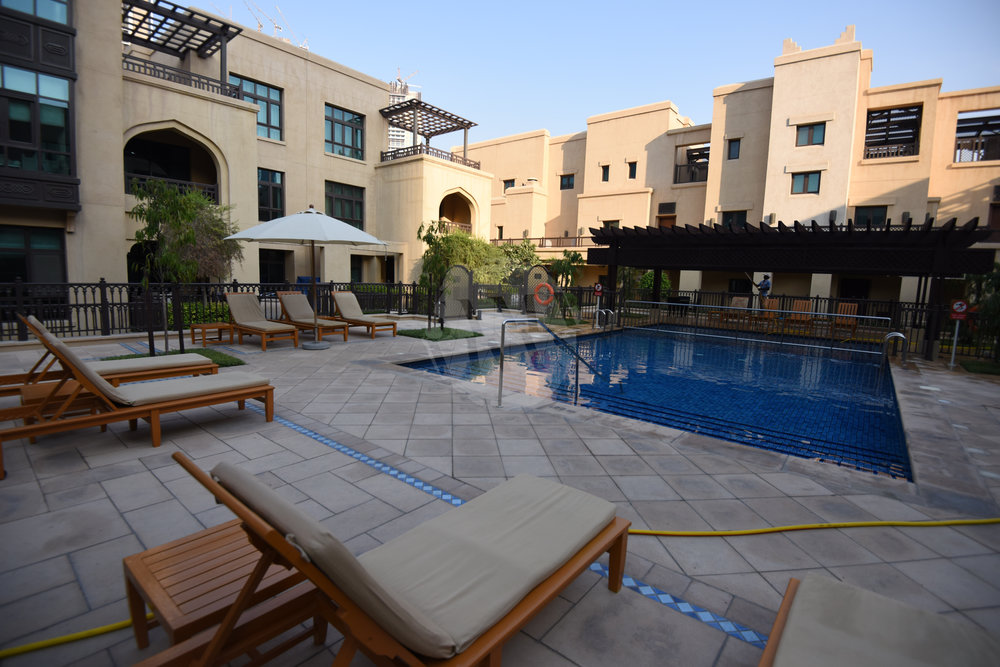There is a choice of three temperature controlled swimming pools, one with a stunning view of Burj Khalifa!