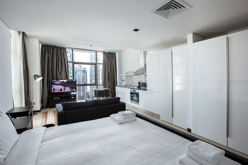 The studio is divided into a cosy sleeping area and a comfortable living area