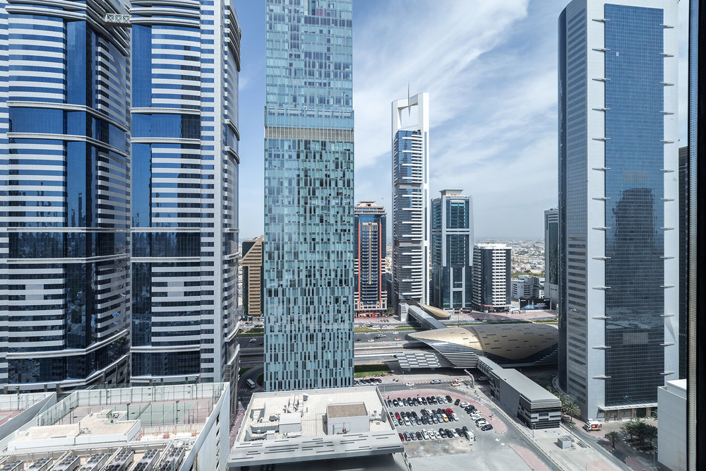 The spectacular views from the apartment means you can see down the length of Dubai