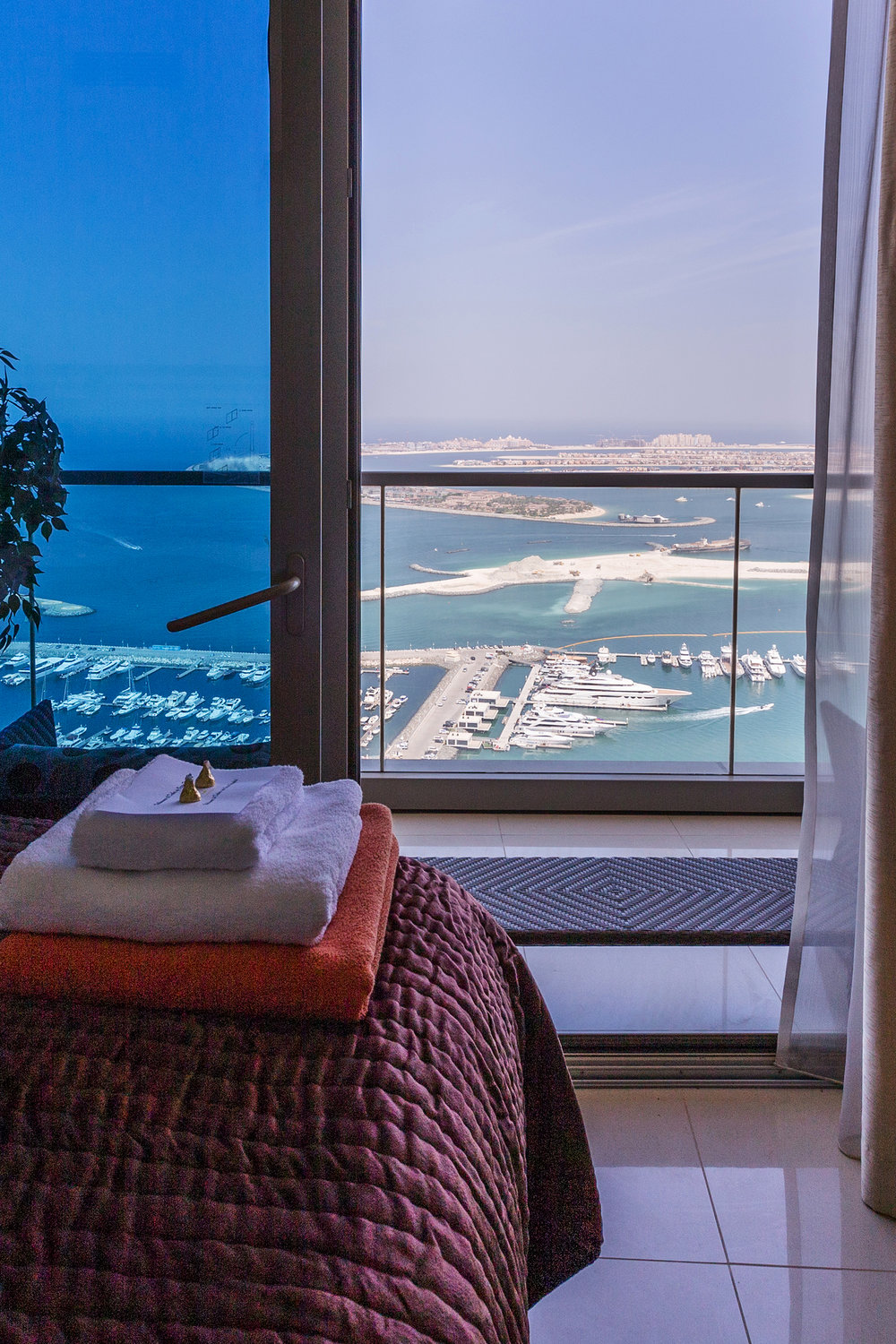 Each bedroom offers stunning views of the Palm Jumeirah and JBR Beach