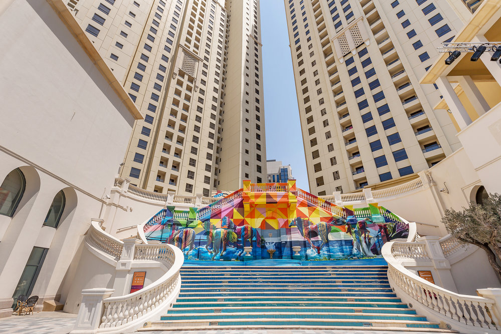 As well as a huge list of bars and restaurants, JBR Walk is famous for its mind-bending 3D graffiti and artwork