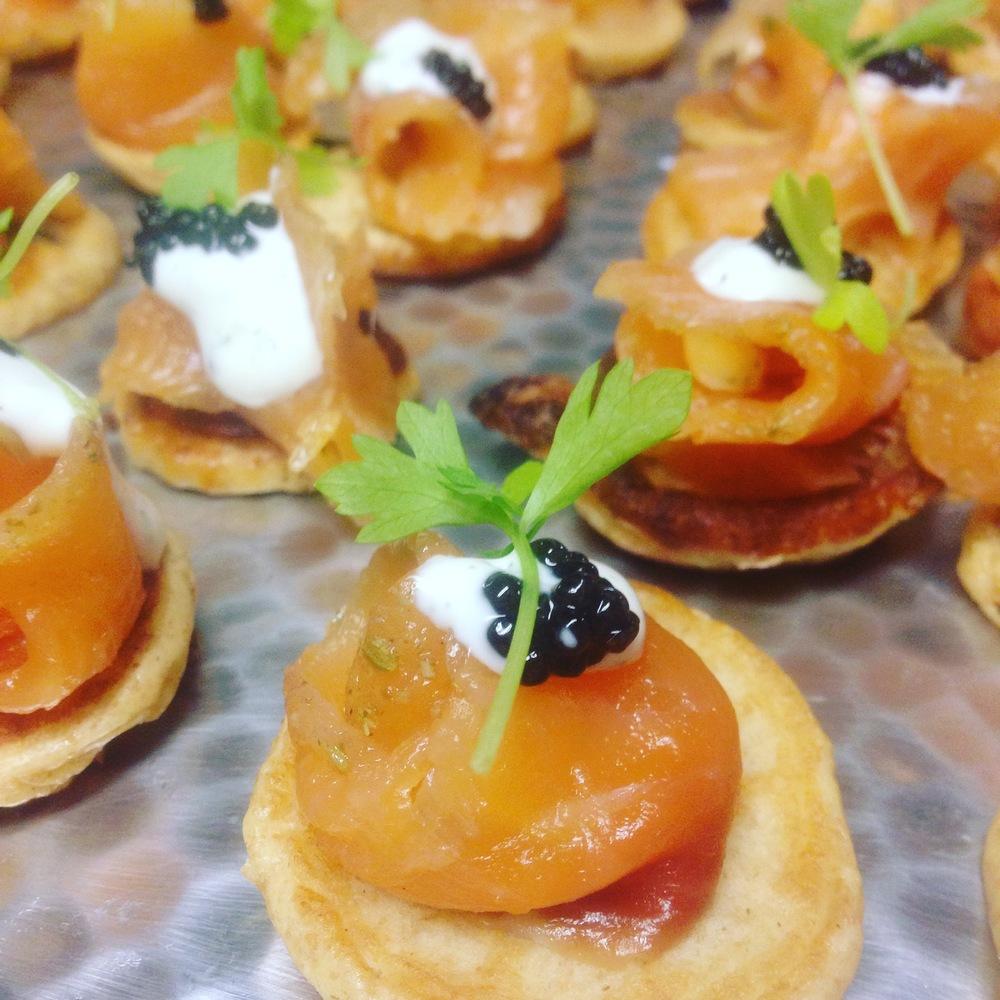 Gravlax & Caviar on Chick Pea Blinis