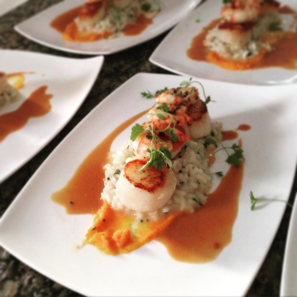 Seared Scallops - side stripe shrimp risotto, shellfish reduction