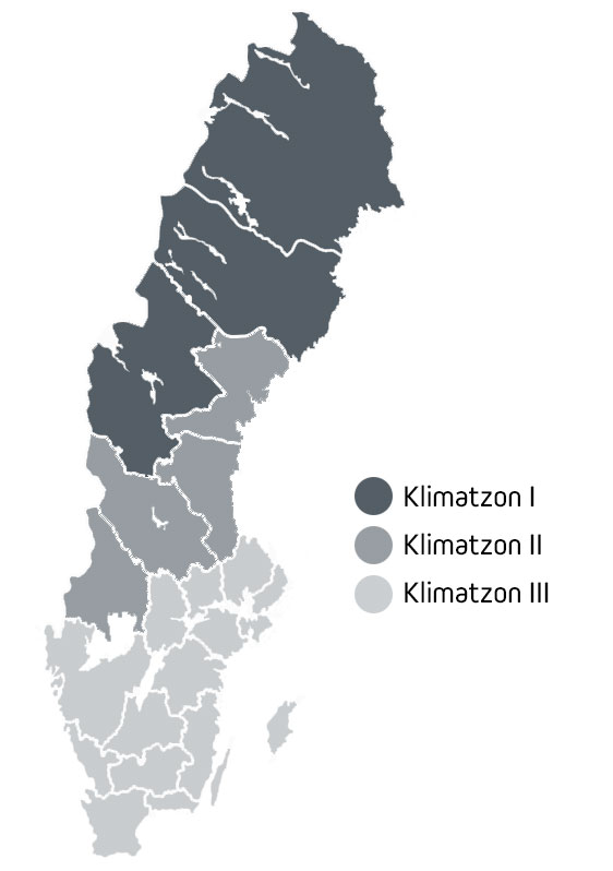 Sverige har tre klimatzoner