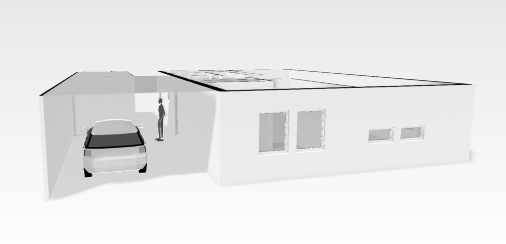 Skiss på carport med förråd. Hoppas bara det är tillåtet att bygga ihop den med huset.