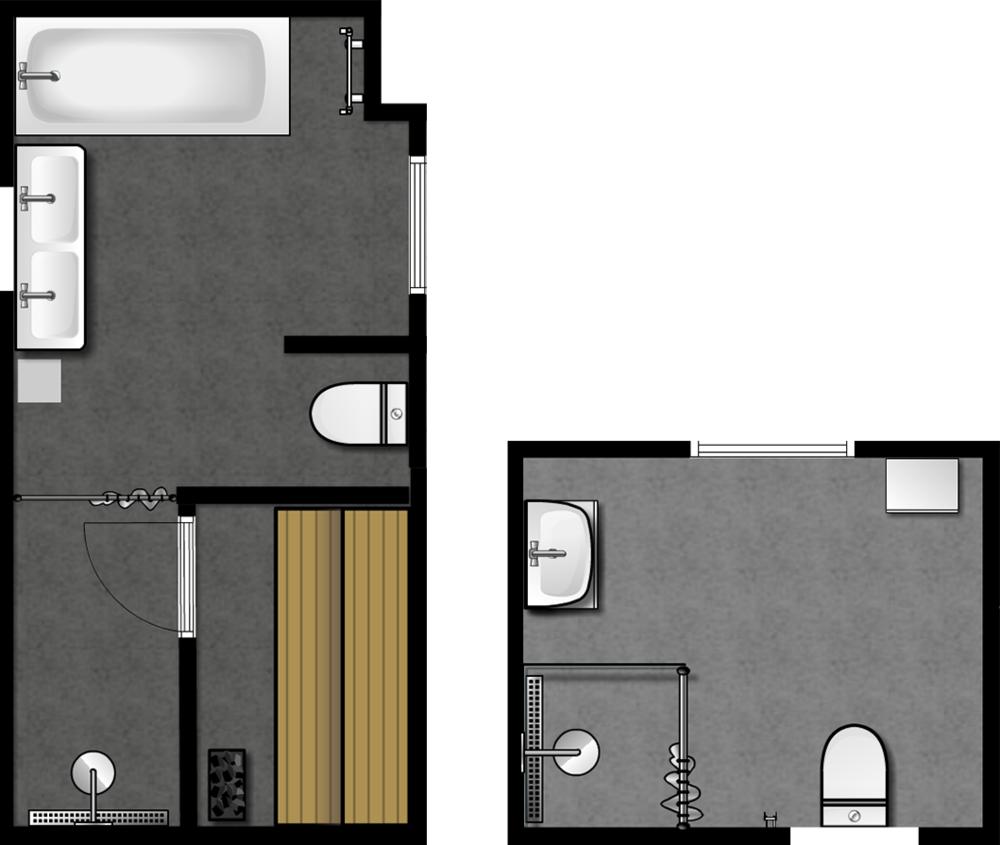 Det stora badrummet med bastu ligger på övervåningen och det lilla på nedervåningen.