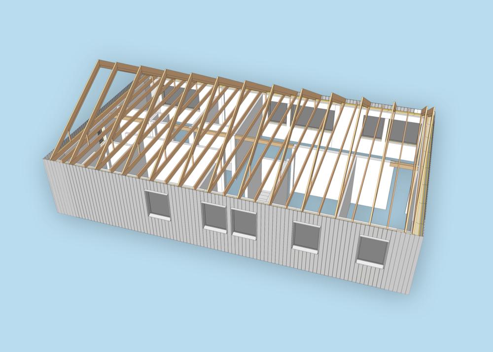 Huset har ramtakstolar så att man senare kan lägga in ett golv på vinden om man vill använda den för förvaring. Men till att börja med kommer där bara finnas 60 cm lösullsisolering och ett ventilationsaggregat av FTX-typ.
