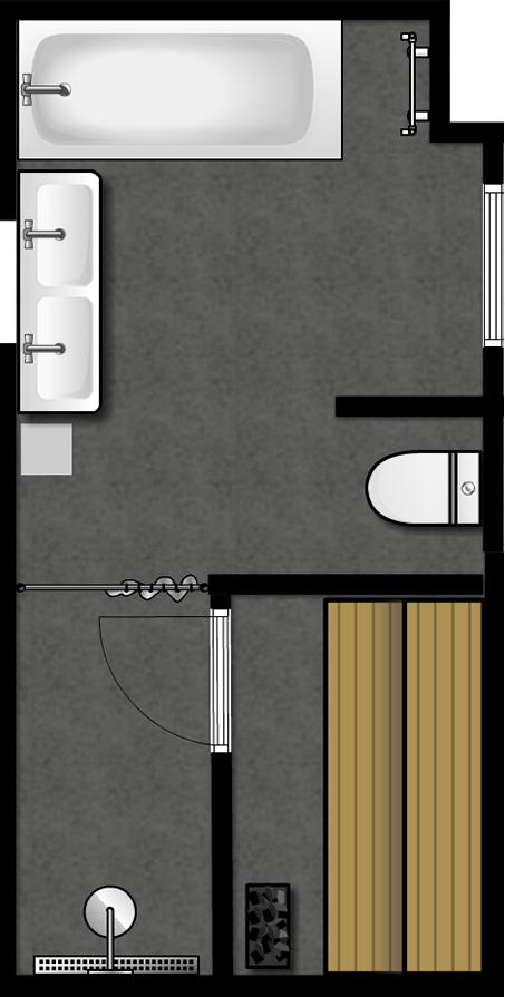 Skiss av badrummet på övervåningen.