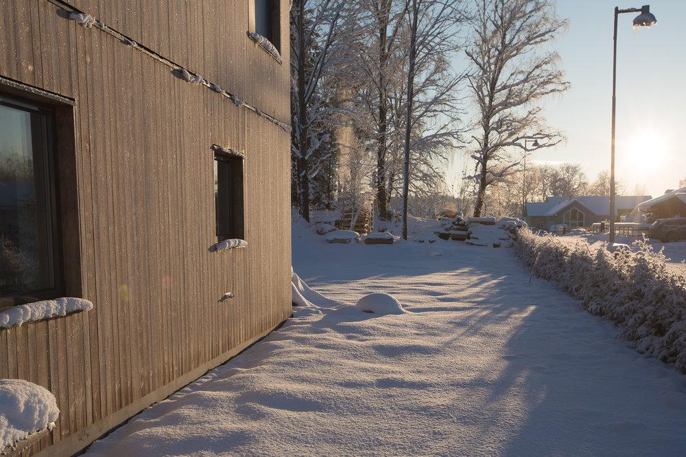 Kebonypanelen gnistrar av frost i solen. Väldigt vackert.