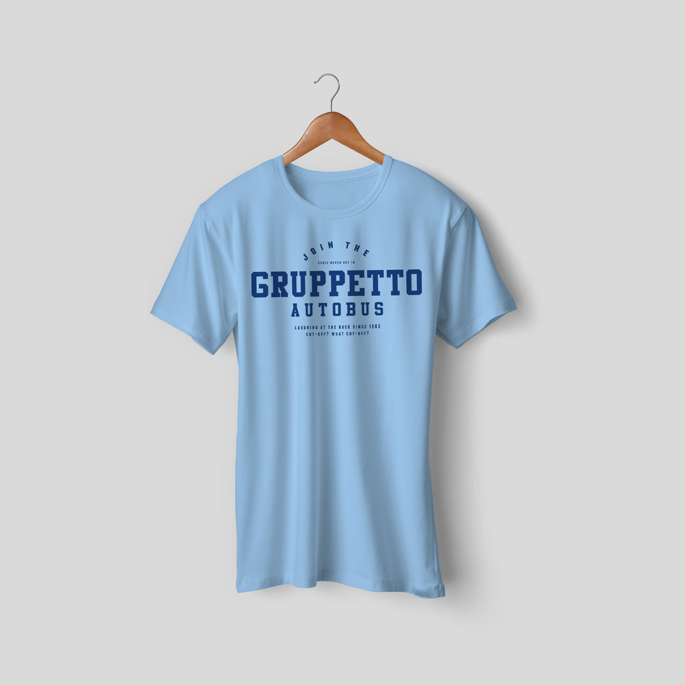 Join The Grupetto Autobus Ltd Edition T-Shirt - £25    Join The Grupetto Autobus! Laughing at the back since 1903. The autobus or the gruppetto is bicycling terminology for the name given to the poor group of cyclists in a road cycling race who form a large group behind the leading peloton. The autobus forms on mountain stages when non-climbers fall off the back of the peloton during the climb. Let's be honest, that's us.  → Limited Edition, not available in shops → Comes in a variety of styles and colours → Secured payment via Visa / Mastercard / Amex / PayPal