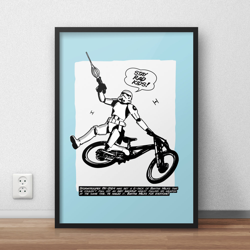 Stormtrooper Indy Backflip Special Edition Poster - £15    Stormtrooper FN-2164 was bet a 6-pack of Bantha Milks that he couldn't pull off an indy backflip whilst pulling his weapon at the same time. He nailed it. Bantha Milks for everyone!  → Limited Edition, not available in shops → Comes in a variety of styles and colours → Secured payment via Visa / Mastercard / Amex / PayPal