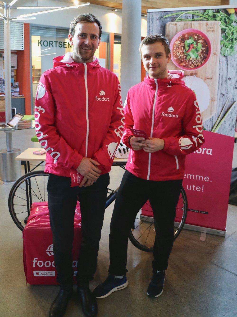 Dan Ruben Aadland og Simen Bones fra Foodora