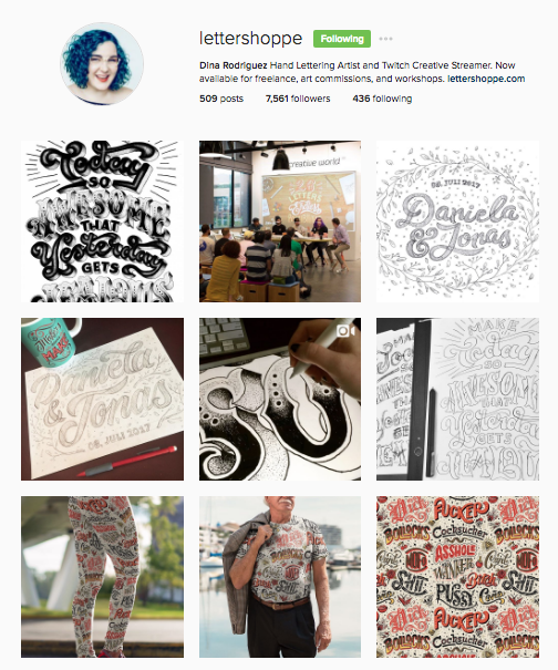 Dina is a hand lettering artist whose Instagram profile clearly reflects her brand!