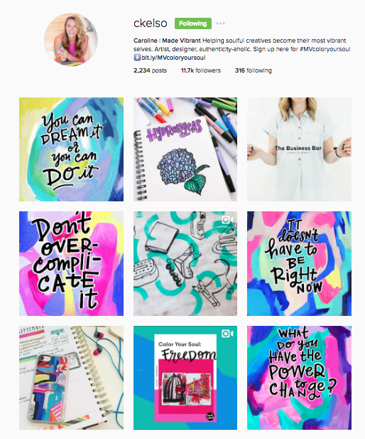 Caroline is another creative Entrepreneur who sells her handmade art as well as online courses. Her feed is colorful and fun, just like her personality and website!