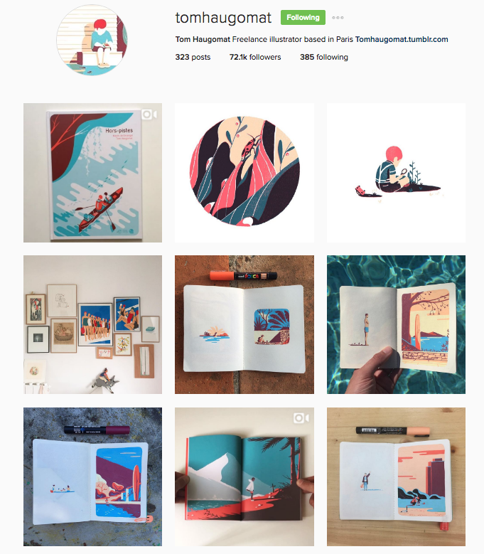 Tom is an illustrator who regularly shares his amazing work and process.