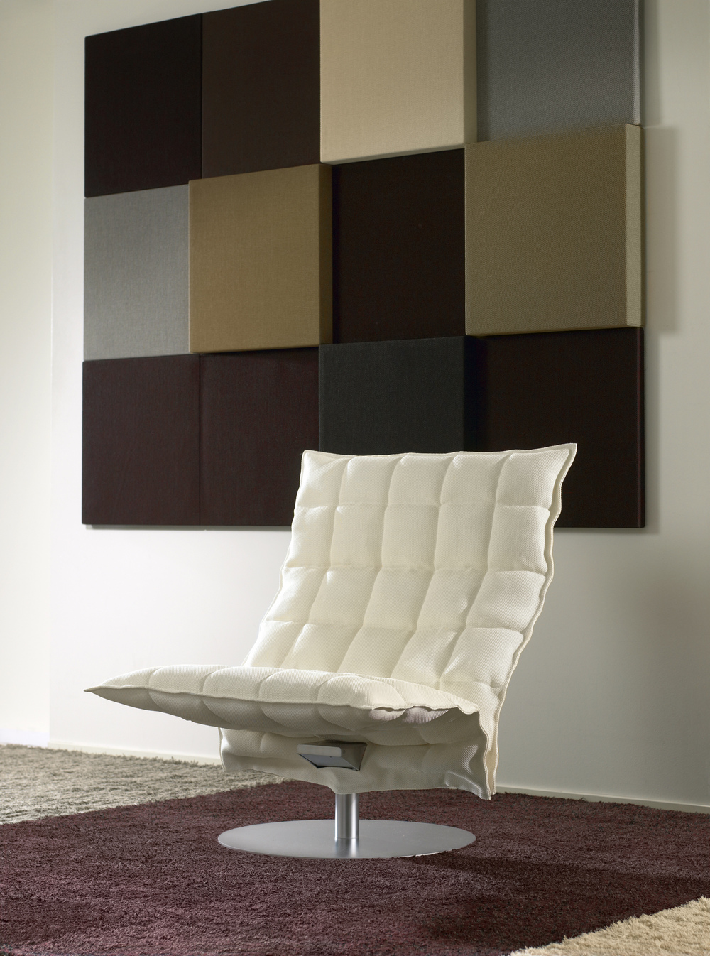 Whisper acoustic panels collage upholstered with Sand paper yarn cotton fabric, different colours and sizes