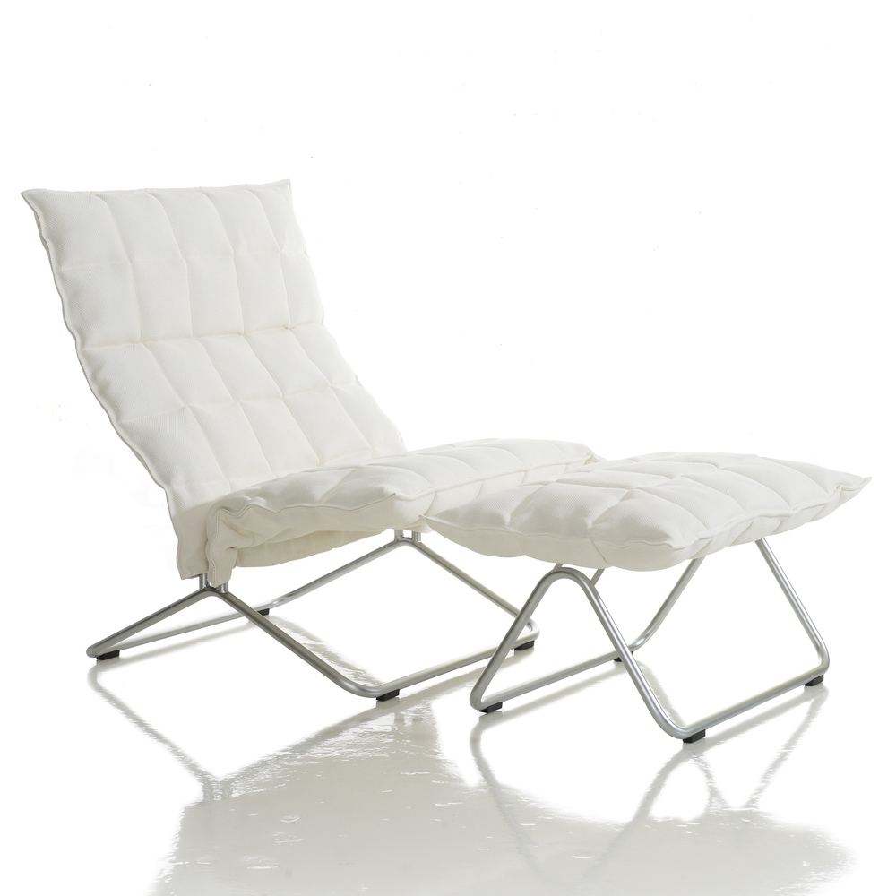46001 Wide k Chair with 46011 Wide k Ottoman, matt-chromed tubular frame