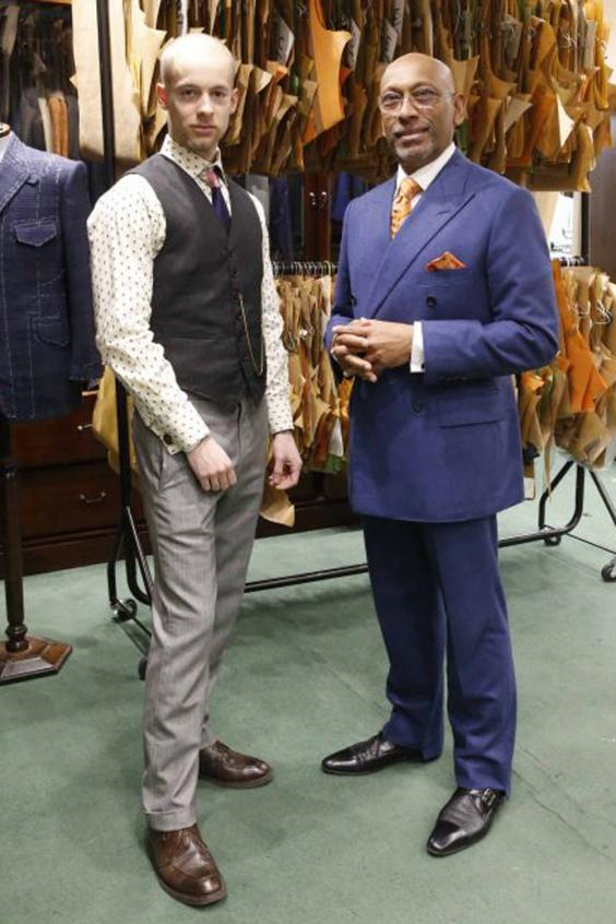 Tangy Viaud with Andrew Ramrod MBE Master Tailor Nigel Howard